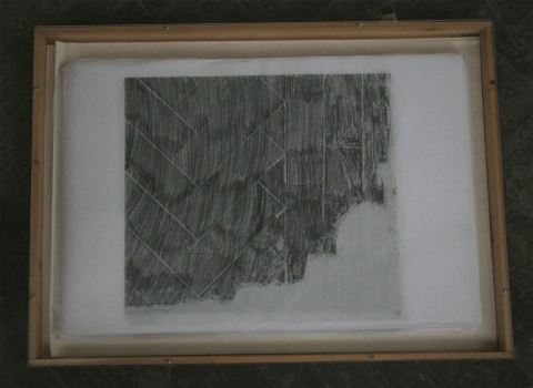 Unearthed: frottage of entire Carpenters Road studio floor, Aude Herail Jager