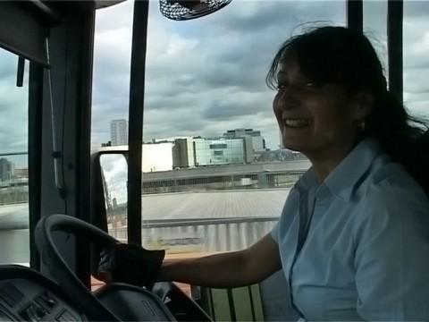 Sam driving bus